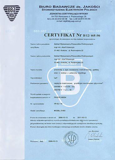 certyfikat Przewód instalacyjny LgY H07V-K 16mm